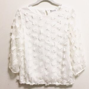 New York and Co. white floral blouse (M)